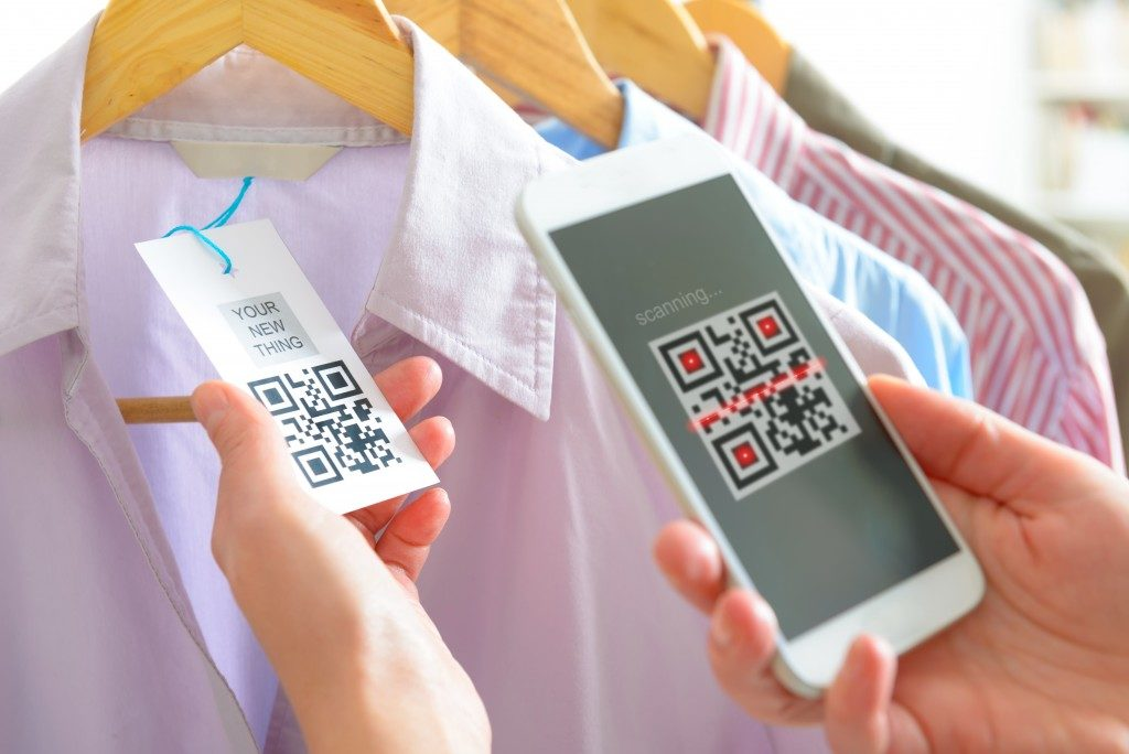 Mobile phone reading a QR code