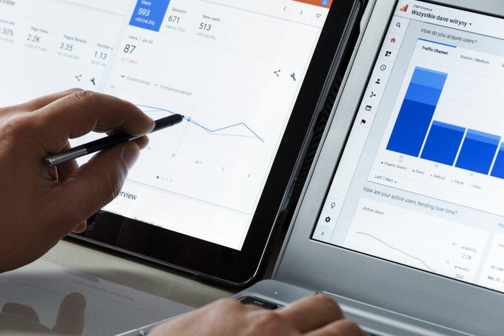 Businessman using google analytics