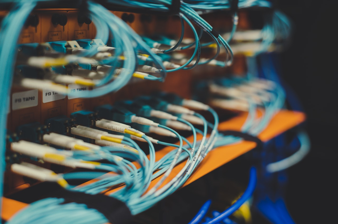 the cables behind a server